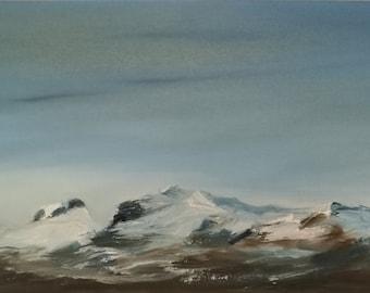 Quadro-mountains-snow-skyline-oil paintings-landscape painting-oil on canvas-piece-nature-blue-white-30 x 60