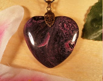 Pink Dragon Veins Agate Pendant with Chain #1324E