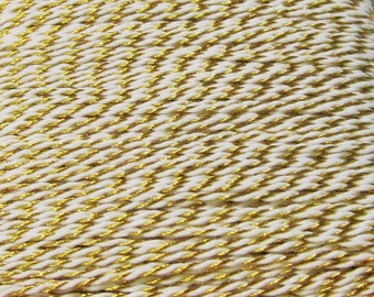 Gold Metallic & White  Baker's Twine - 10yds - - 100% Cotton - 2 Ply - Packaging - Tag Hanger - Bow Making