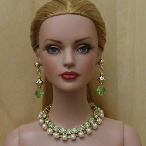 Peridot & Pearls Jewelry Suite For Sydney Chase, Tyler Wentworth, Ellowyne Wilde And Other Same Size Dolls