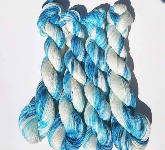 Tide Pools- 100 Cotton, Hand Dyed, Variegated, Speckled, Hand Painted Yarn