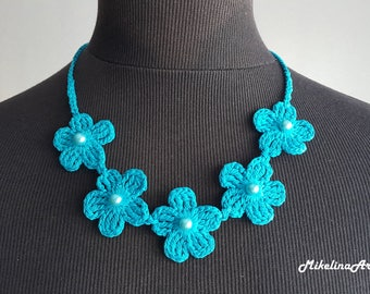 Crochet Necklace,Crochet Neck Accessory, Aquamarine Color, 100% Cotton.