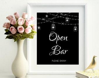 70% SALE Open Bar printable sign, wedding  digital sign, black remembrance sign, string lights and mason jars wedding sign