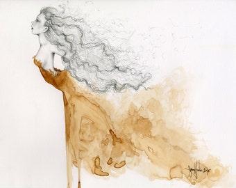 Original peinture techniques mixtes de peinture à la main avec café coloration Fine Art pour votre maison-peinture d'une fille Art marron Home Decor murale