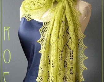 Roe, knitting pattern PDF for a rectangle lace shawl