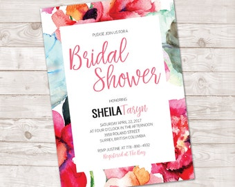 Watercolor Bridal Shower Invitation, Bridal shower Invitation Floral, Spring Bridal Invite, Floral watercolor Invitation, Printable invite