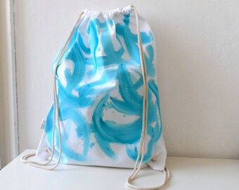 Turquoise Blue White Backpack, Summer Tote, Beach Bag, Drawstring bag , white turquoise beach bag