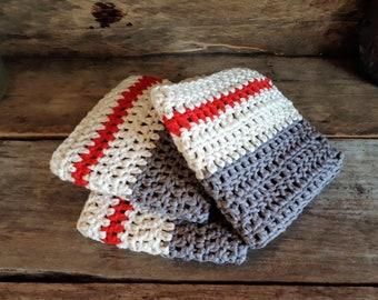 3 dishcloths, Washcloths, lingettse Anick Rustic handmade crochet - made in Quebec