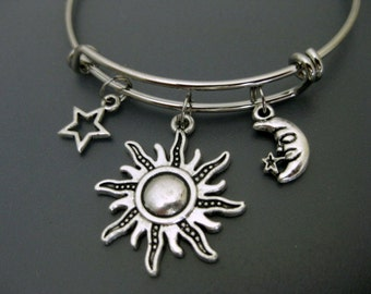 Sun Moon Star Bangle / Adjustable Charm Bracelet  / Stackable Bangle  / Expandable Bracelet / Friends Bangle / Mother Daughter Bangle