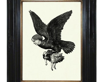 Fairytale Art Print Harpy Ladybird carries off Girl Steampunk Victorian Gothic Engraving Art Print Collage Halloween