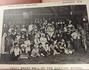 RARE Middlebury College Summer 1918 Class Picture Fancy Dress Ball of the Spanish Class