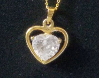 Vintage Valentine's Day Heart Pendant Necklace, Gold Over 925 Facet Clear Glass Zirconia, 1980's Heart Pendant Necklace