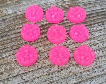 12mm Hot Pink Faux Druzy Cabochon
