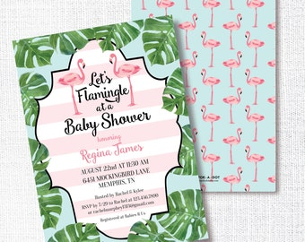 Flamingo Palm Shower Invitation, Printable, Let's Flamingle Invite, Preppy Baby Shower,  Bridal, Couples, Birthday, Tropical, Pool Party