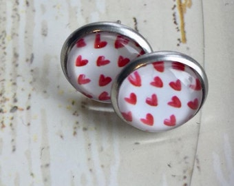 Stud Earrings, earrings, heart, white, red, heart, is handmade, stainless steel