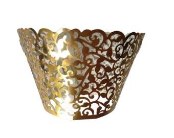 Gold Filigree Cupcake Wrapper