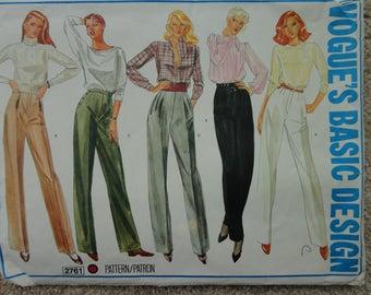 Vogues basic design pattern 2761 trouser pattern size 14