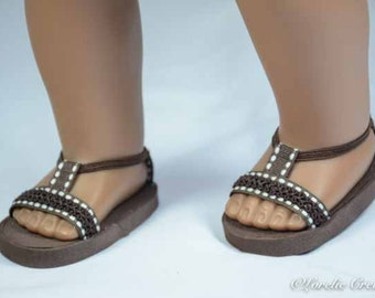 American Girl or 18 inch doll SANDALS SHOES Flipflops in Chocolate Brown with White Stitch Accents and Ankle Strap and PURSE Option