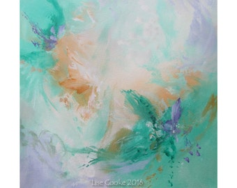 Abstract Expression Art Original Contemporary Painting green violet Musing 150