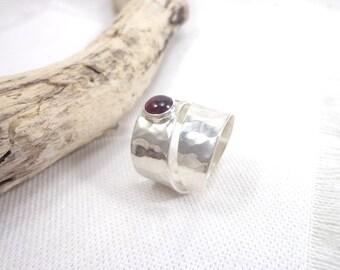 Sterling band ring, dimpled ring, adjustable ring, sterling engagement ring, hammered ring, man ring, wedding ring, garnet ring, OOAK ring