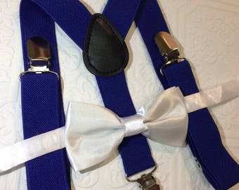 Baby suspenders, bow tie, white baby bow tie, baby bow tie, suspenders, blue suspenders set, wedding bow tie, satin bow tie, royal blue tie