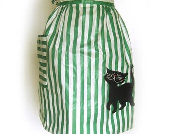 Cat Apron / Half Apron / Green and White Stripes / Black Kitty Appliqué / Black Cat / Holiday Apron / Gift for Her / Gift for Crazy Cat Lady