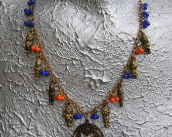 SALE Azteca single strand Aztec charm necklace OOAK