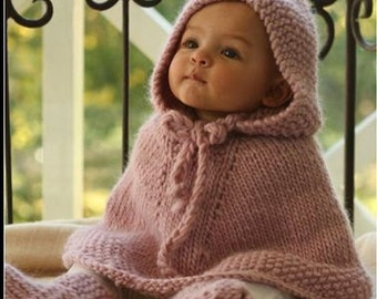 Baby-kids Poncho with hood, knitted poncho, pure wool