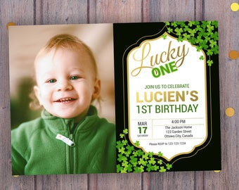 St. Patrick's Day Birthday Invitation with/without photo. St. Patrick's Day Invitation, Shamrock Invitation, Shamrock Birthday, Digital
