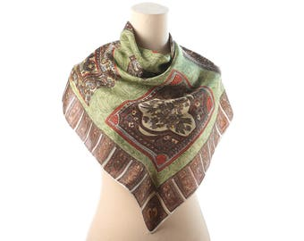 Abstract Silk Scarf 70s Bohemian Patterned Twill Silk Shawl 1970s Moss Green Beige Handrolled Edges Boho Vintage Luxury Scarf  Womens Gift