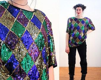 80s Sequin Top XXL, Harlequin Color Block Stenay Vintage India Beaded Glam Plus Size Argyle Mardi Gras Party Blouse, 2XL