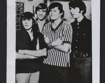 The Monkees, black and white photo reproduction, vintage photo, Michael Nesmith, Micky Dolenz, Davy Jones, Peter Tork