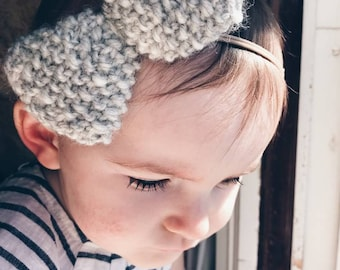 Big knit bow headband --- baby girl headband, nylon headband, hair accessory, baby shower gift