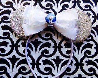 Frozen Olaf Silver Sparkle inspired Minnie Mouse Headband Ears