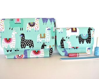 Llama gift, cute make up case, toilet cosmetic bag, zip free, small teal gadget pouch