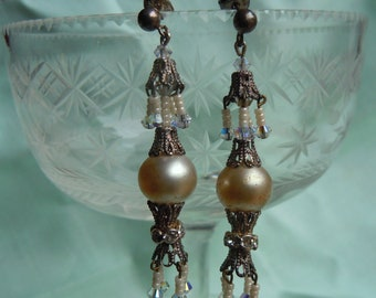 Antique intricate Crystal and Seedbead Dangle Earrings