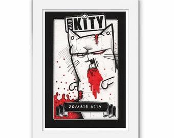 Bad Kity Print, Kitten Illustration, Kitty Cartoon, Cat Art, GPK, Animal Humour