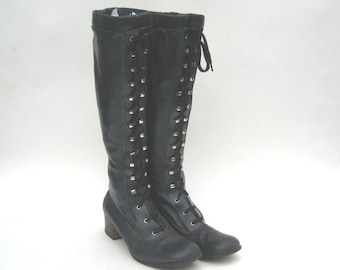 1960s thick blue vinyl lace-up boots -vintage go go boots - size 7 - 60s lace up boots - blue gogo boots - 60s mod boots - 60s boots