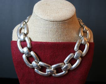 Statement Silver Plate Chain Collar