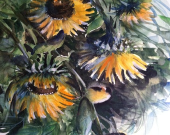 Sunflowers and Finches, Original Watercolor