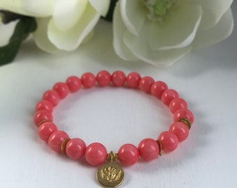 Women's Beaded Bracelet - Pink Coral with 24K Gold Vermeil Lotus Charm