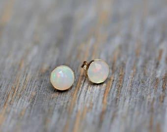 Opal Stud Earring fire opal stud wedding earrings October birthstone opal Faceted Rose cut Ethiopian Welo Opal Earring gift for her 6mm