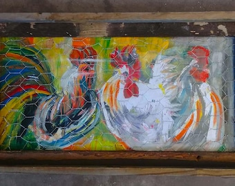 Chickens and Rooster Painting- Chicken Wire & Reclaimed Wood Frame