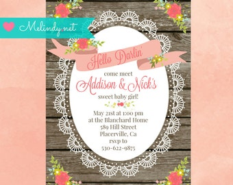 "Printable ""Hello Darlin'""  Baby Meet and Greet Invitation kit!  Invitation, Announcement and Thank You Cards!"