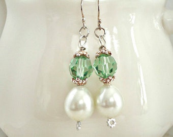Peridot Crystal Earrings, Pearl Dangle Earrings, August Zodiac Earrings, CLEARANCE SALE