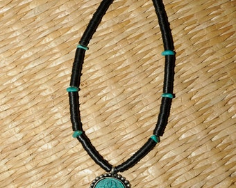Coconut and turquoise chunks brown and blue necklace 18 inches CSP 317