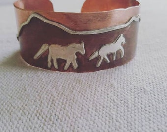Run with the Horses copper and silver cuff