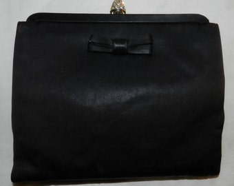 Vintage Britemore Black Evening bag / clutch with Rhinestone clasp and branded mirror - Mid Century Modern retro style Purse            30-8