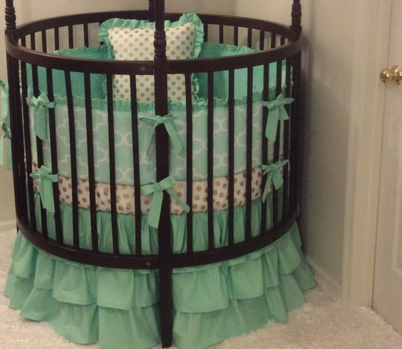 Round Mint and Gold Crib Bedding Set by CribBeddingByBB