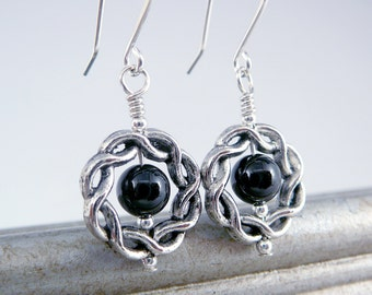 Black Onyx Earrings, Black Drop Earrings, Jewelry for Mom, Onyx Jewelry, Stylish Earrings, Girlfriend Presents, Black Dangle Earrings